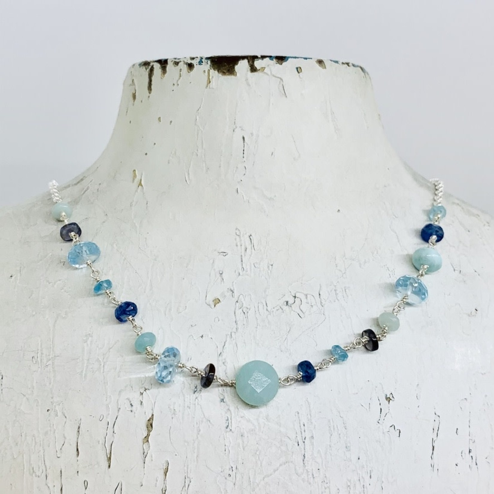 Handmade necklace with connected amazonite, apatite, blue topaz, kyanite, iolite