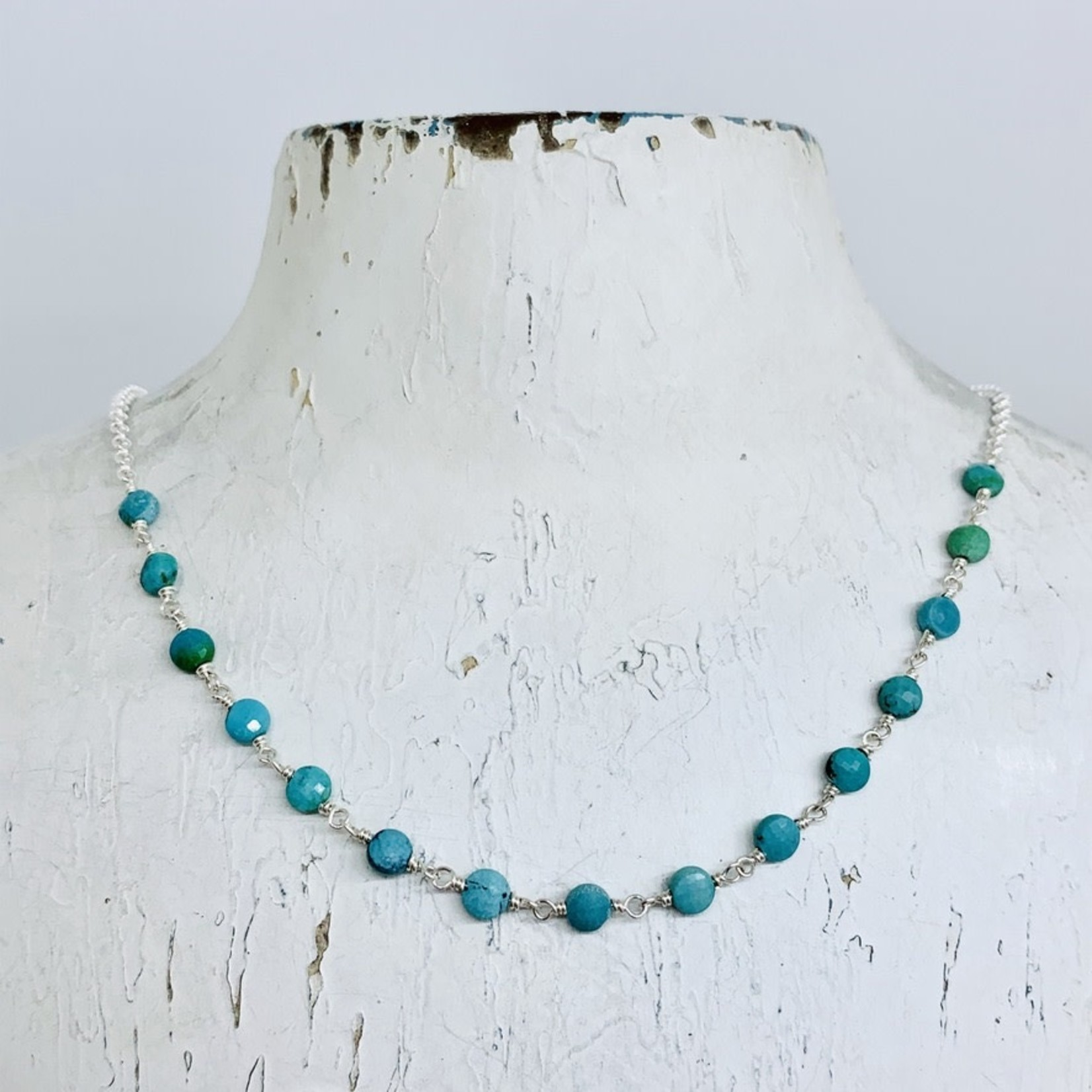 Handmade necklace with connected tiny turquoise coins