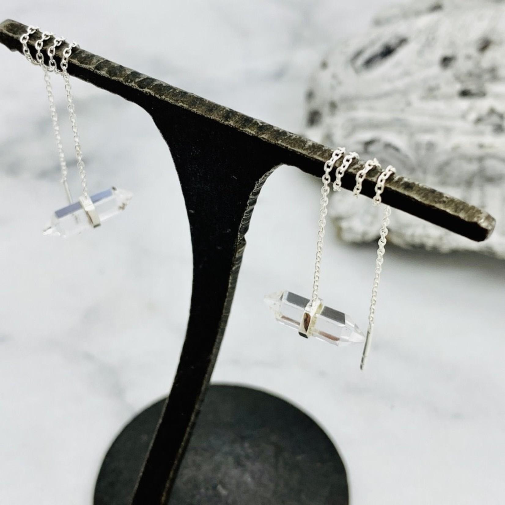 Baizaar Sterling silver thread through crystal point earrings