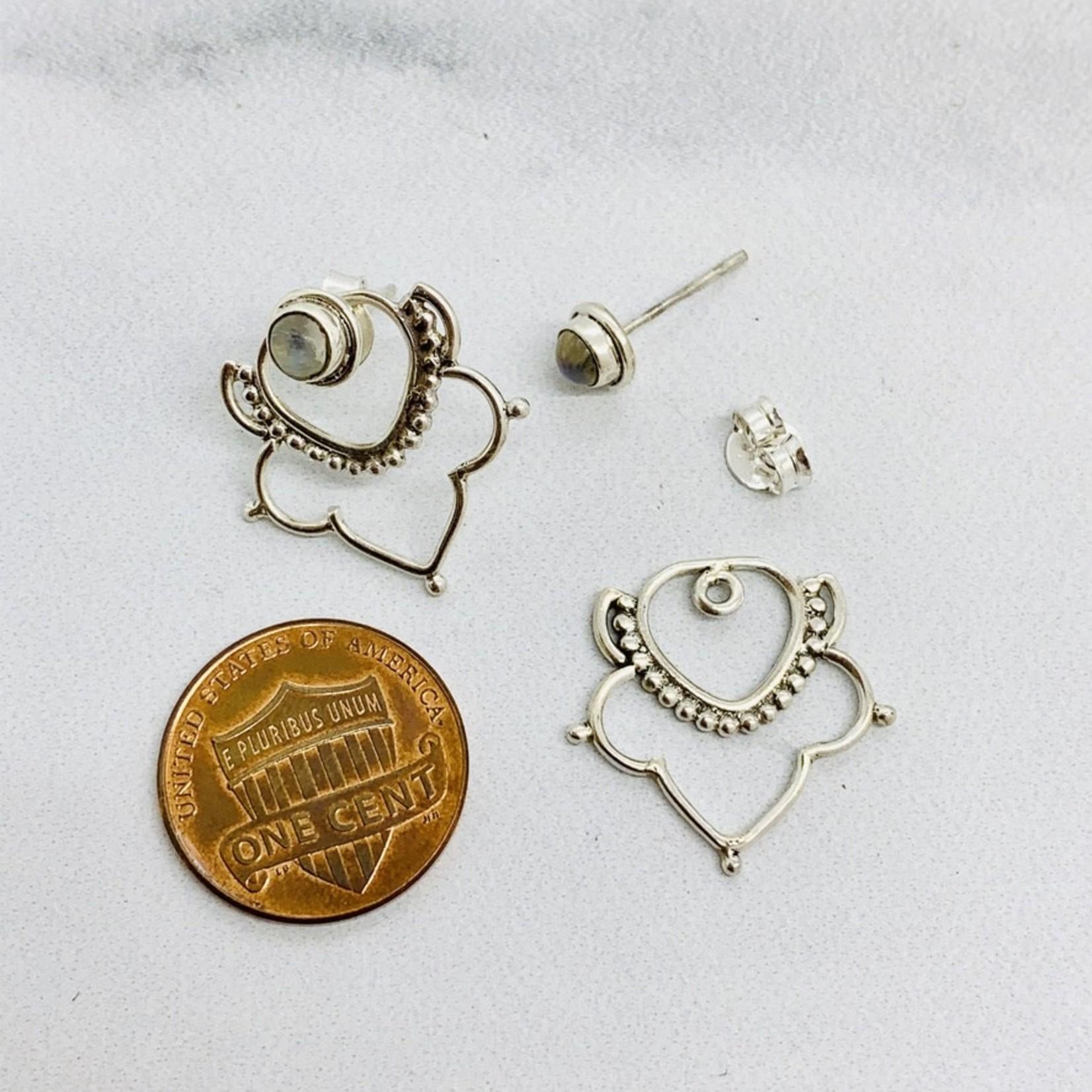 Baizaar Chandelier sterling silver ear jacket with Moonstone