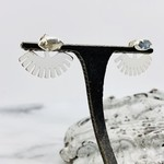 Baizaar Peekaboo tribal sun design ear jacket in sterling silver with cut labradorite stone