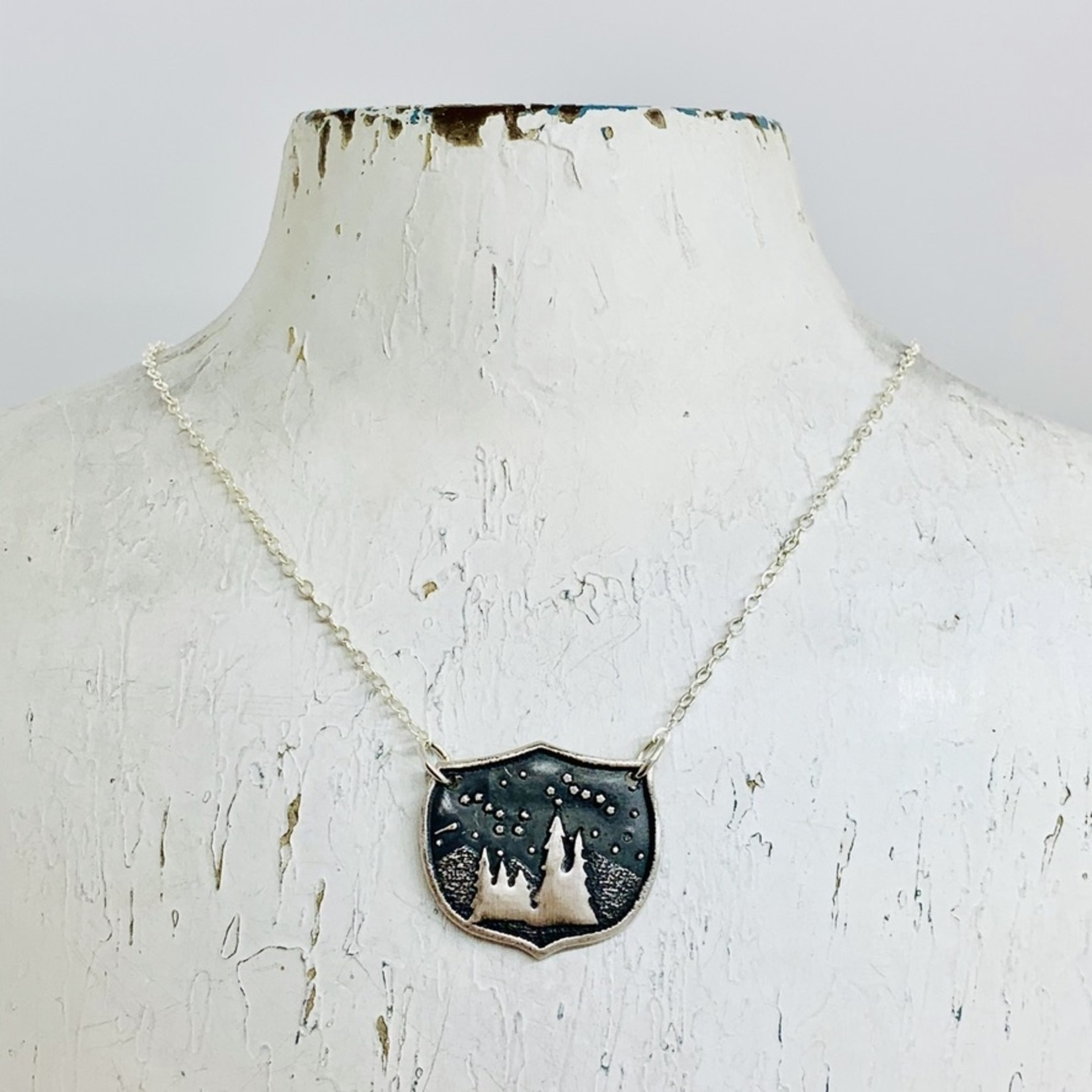 Recycled Silver Family Trees Shield Necklace, 18""