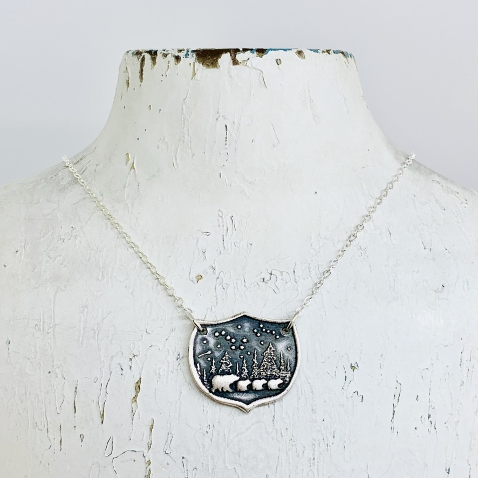 Recycled Silver Bear Family Shield Necklace, 18""
