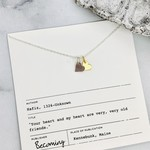 Becoming Jewelry Double Tiny Hearts Necklace, Silver with 14k Goldfill