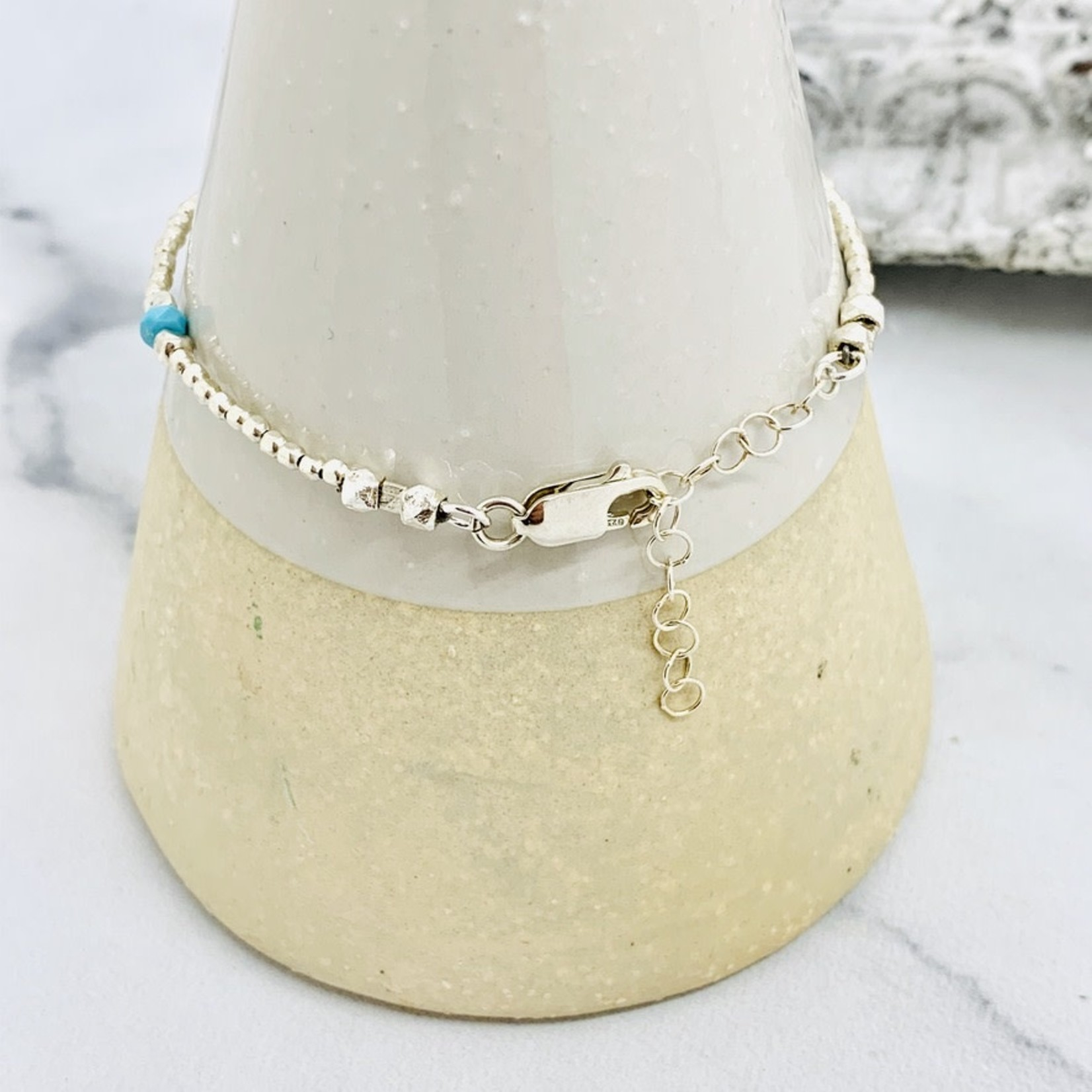 Handmade Sterling Silver and Sleeping Beauty Turquoise Bracelet