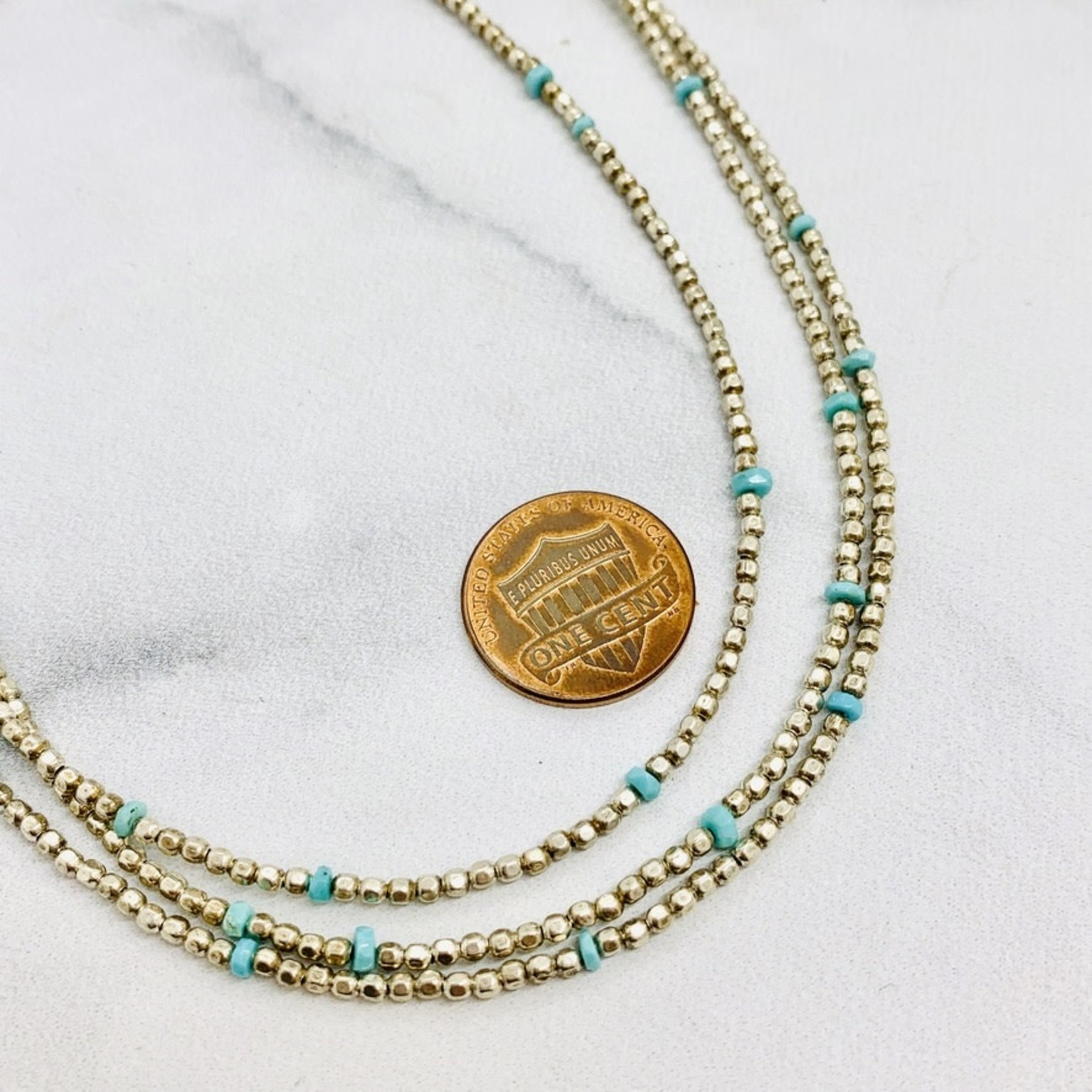Handmade Sterling Silver and Sleeping Beauty Turquoise Triple Strand Necklace