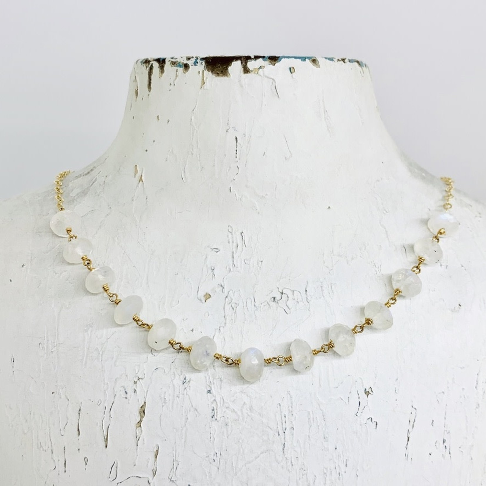 Handmade Necklace with 13 rainbow moonstone joined, 14 k g.f. chain/wire, shiny chain