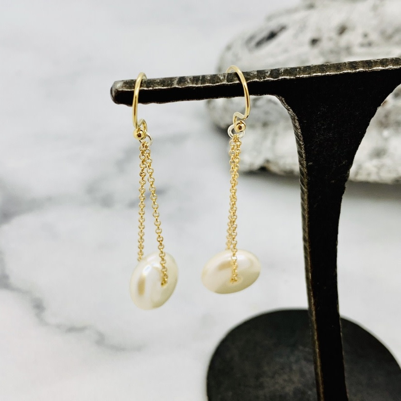 Handmade earrings with button pearl on 14 k g.f. chain