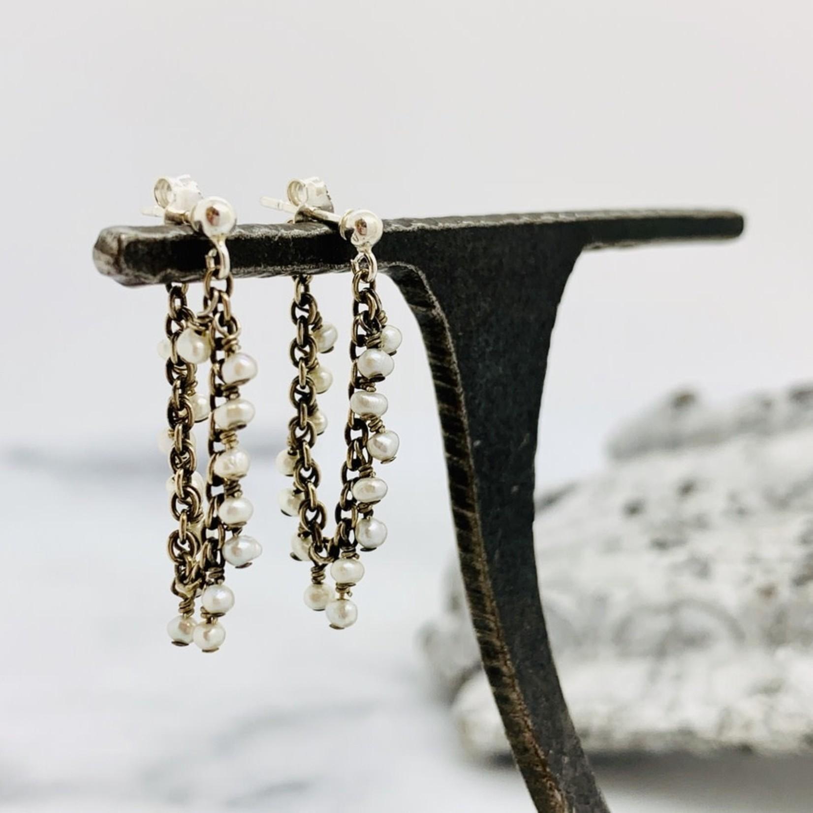 "Handmade 2"" white pearl dangle oxidized long dangle Earrings"