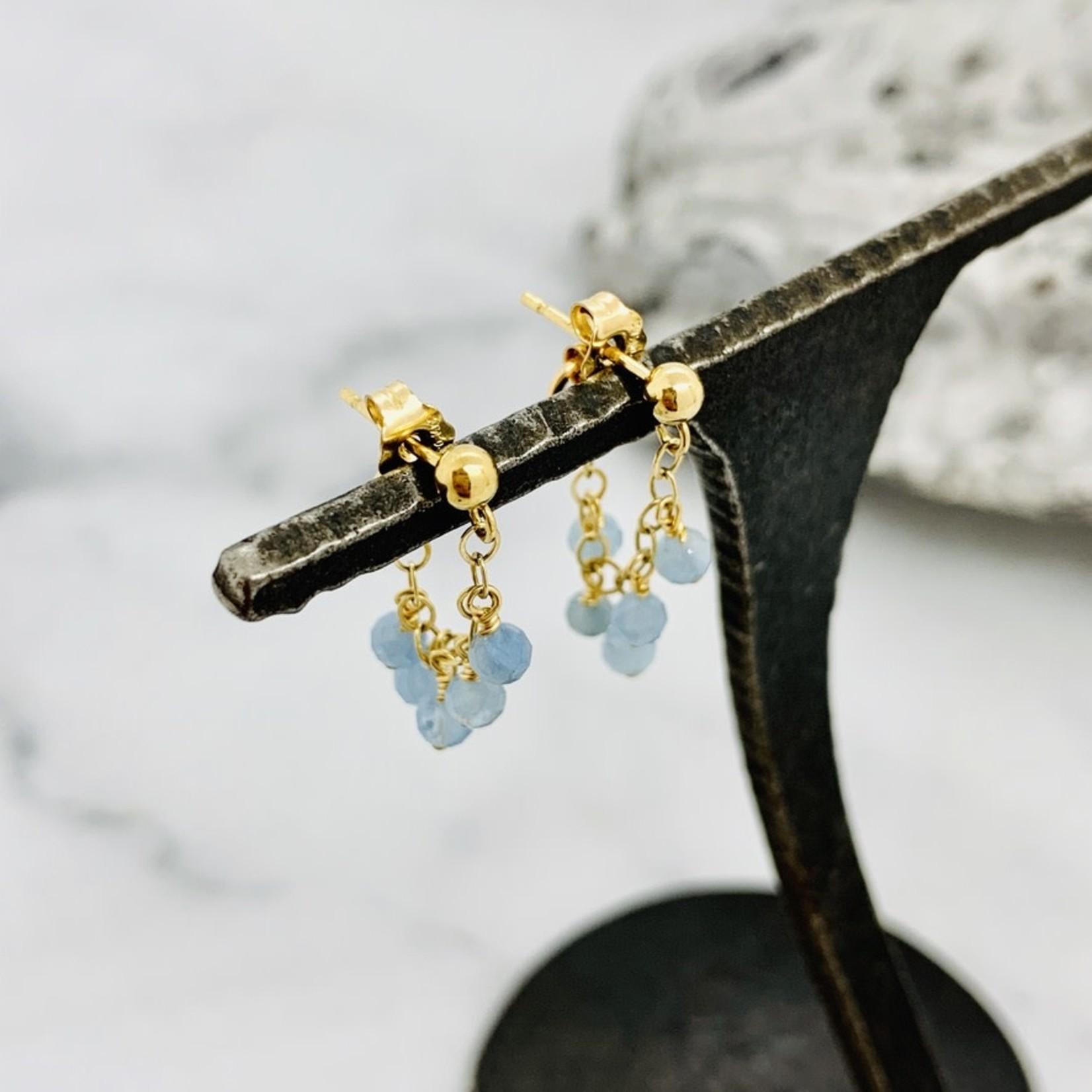 Handmade  Aquamarine and 14k GF Gemstone Wrap Earrings