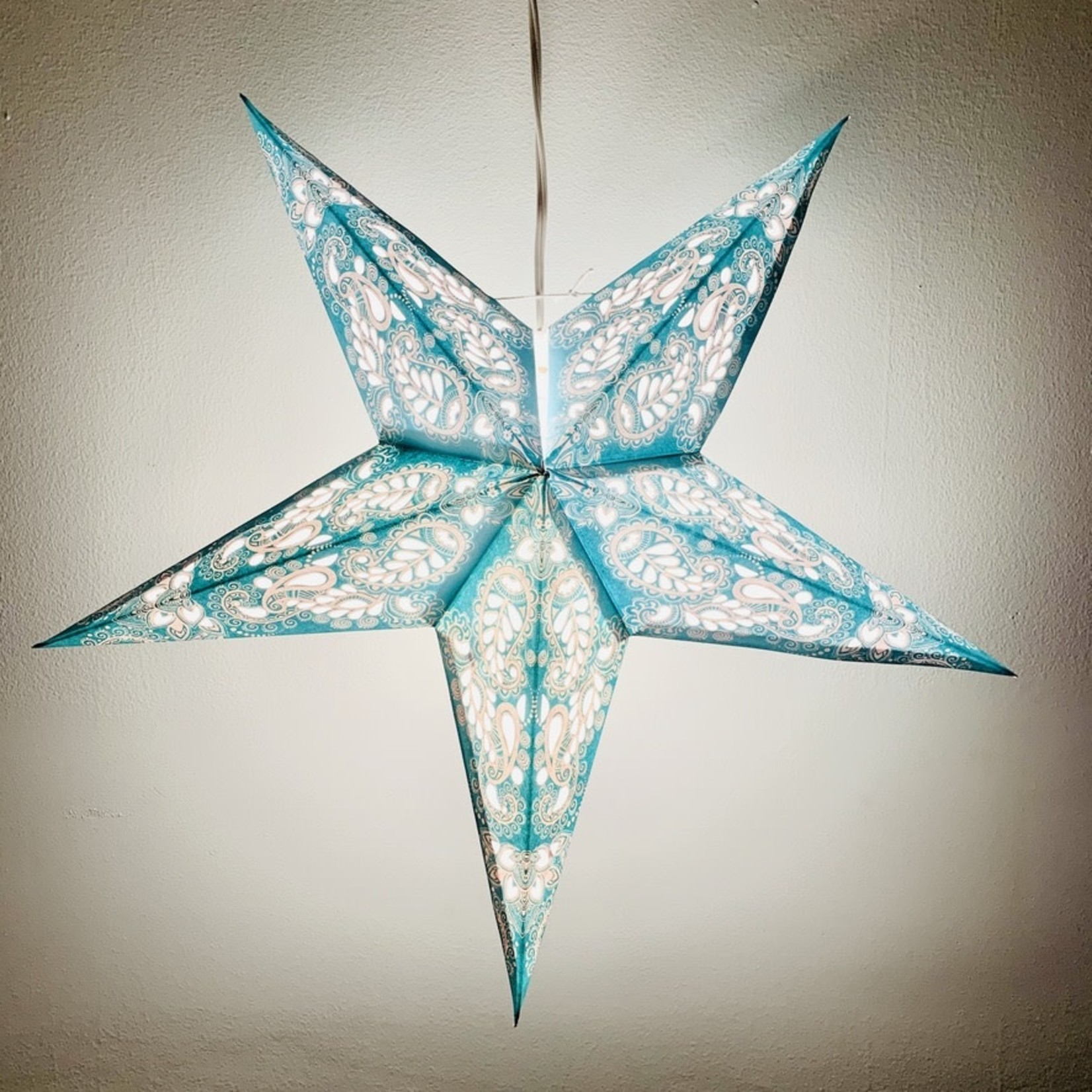 Turquoise Paisley Space Star Light with 12' Cord