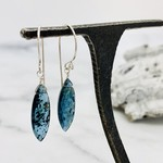 Handmade Marquis Moss Kyanite Silver Drop Earrings