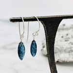 Handmade Small Marquis Moss Kyanite Silver Drop Earrings