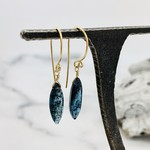 Handmade Small Marquis Moss Kyanite 14k Goldfill Drop Earrings