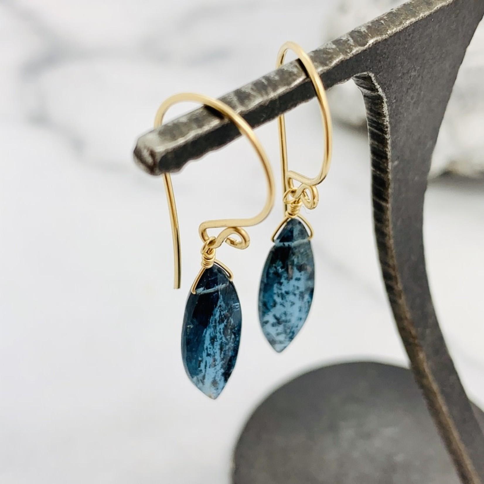 Handmade Marquis Moss Kyanite 14k Goldfill Drop Earrings