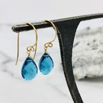 Handmade Faceted Blue Topaz Drop 14k Goldfill Earrings