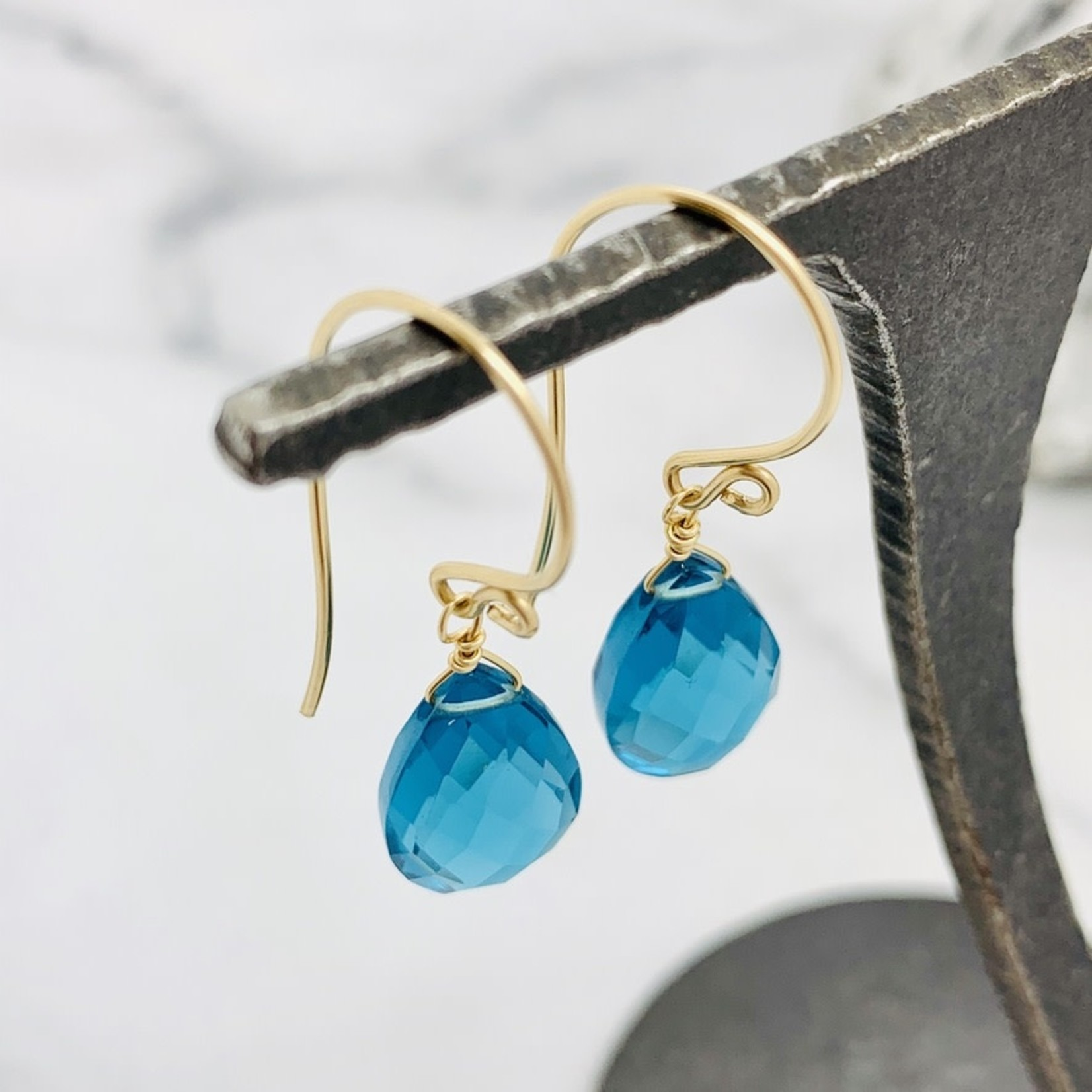Handmade Faceted Blue Topaz Drop 14k Goldfill Earrings