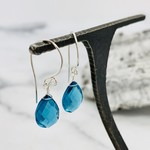Handmade Faceted Blue Topaz Drop Silver Earrings