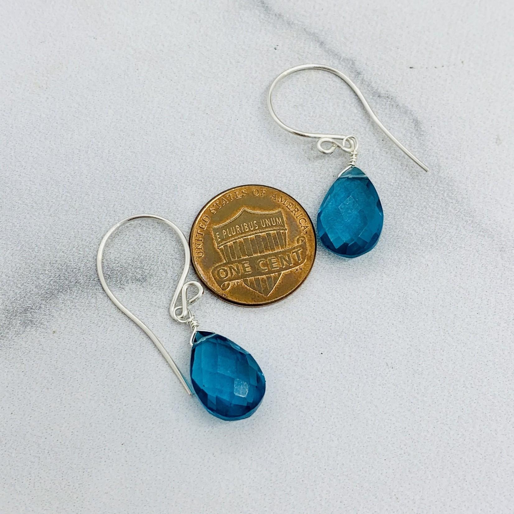 Handmade Faceted Blue Topaz Drop Silver Earrings
