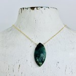 Handmade Large Emerald Marquis and Goldfill Necklace, 18""