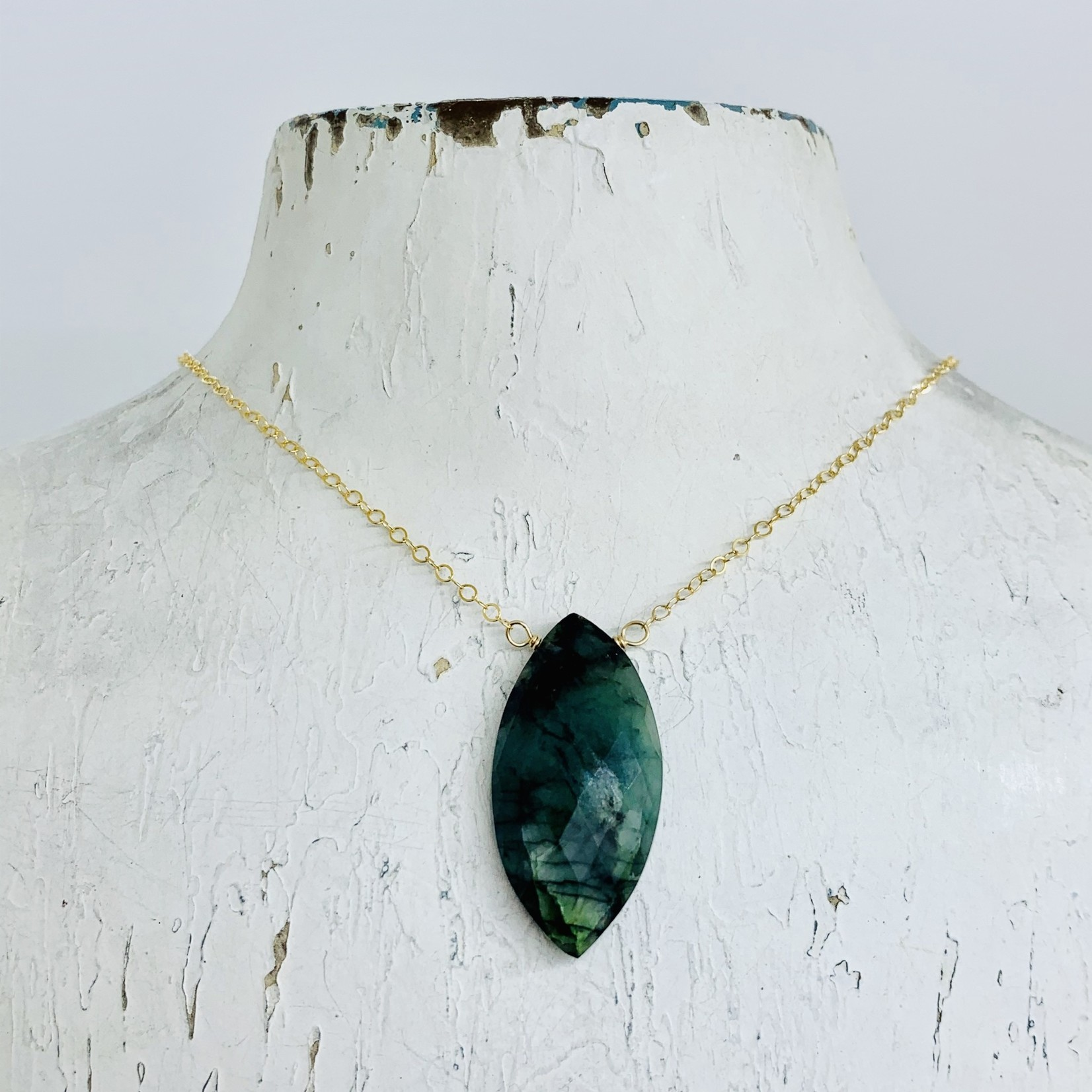 """Handmade Large Emerald Marquis and Goldfill Necklace, 18"""""""