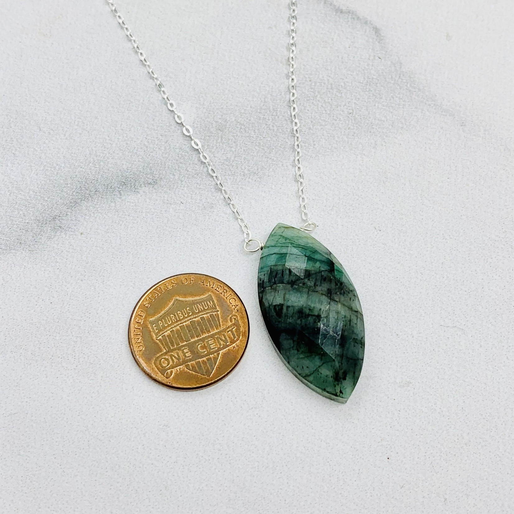 """Handmade Large Emerald Marquis and Silver Necklace, 18"""""""