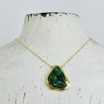 "Handmade Electroformed Adventurine Drop on 18"" 14k Goldfill Necklace"