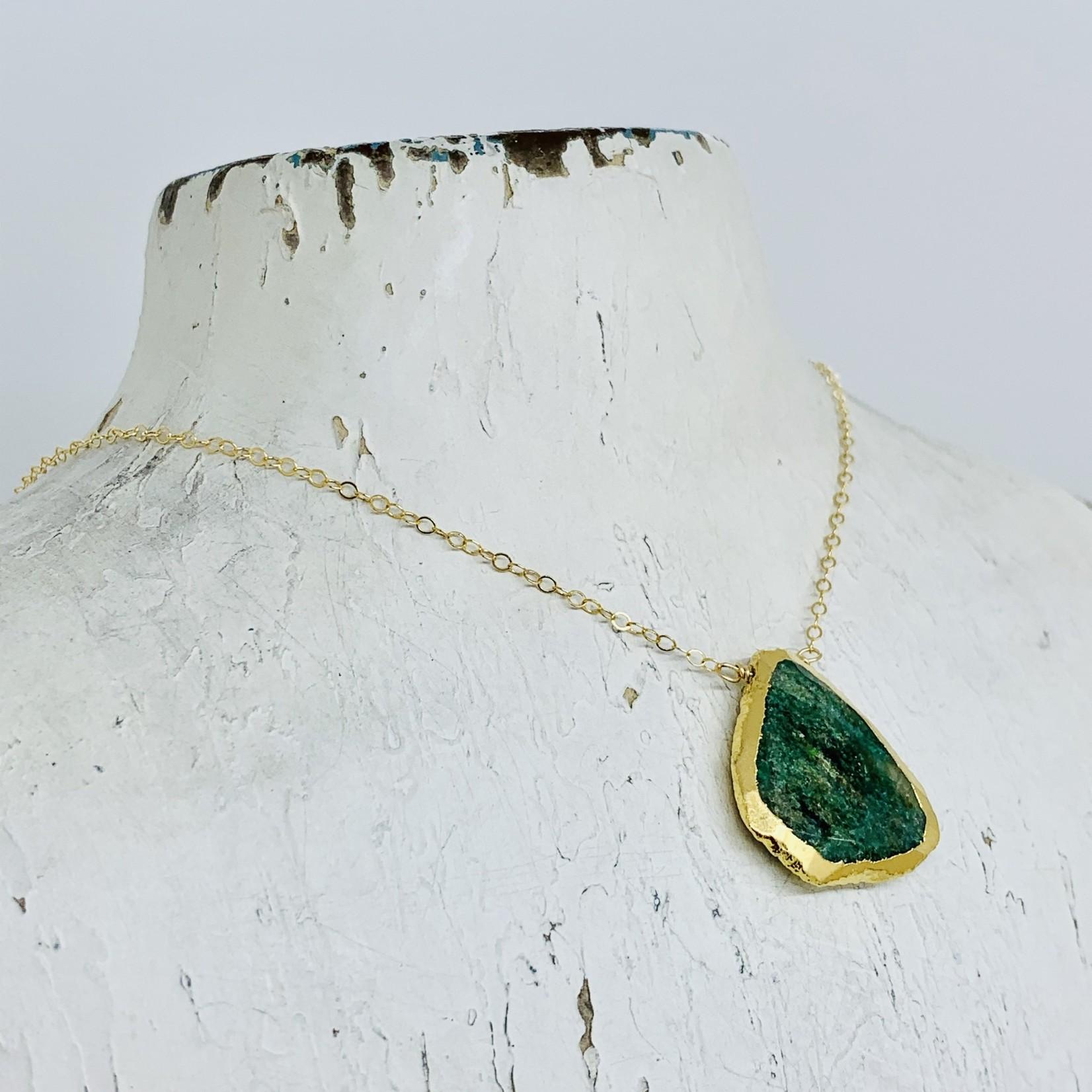 "Handmade Electroformed Adventurine Drop on 18"" 14k Goldfill Necklace"
