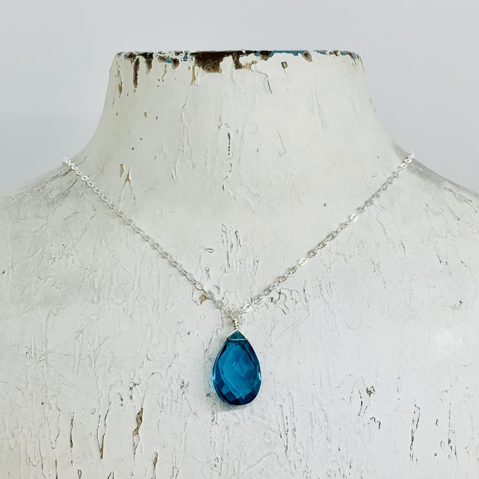 """Handmade Faceted Blue Topaz Drop on 18"""" Silver Necklace"""