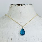 "Handmade Faceted Blue Topaz Drop on 18"" 14k Goldfill Necklace"