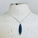 "Handmade Large Marquis Moss Kyanite Drop on 18"" Silver Necklace"