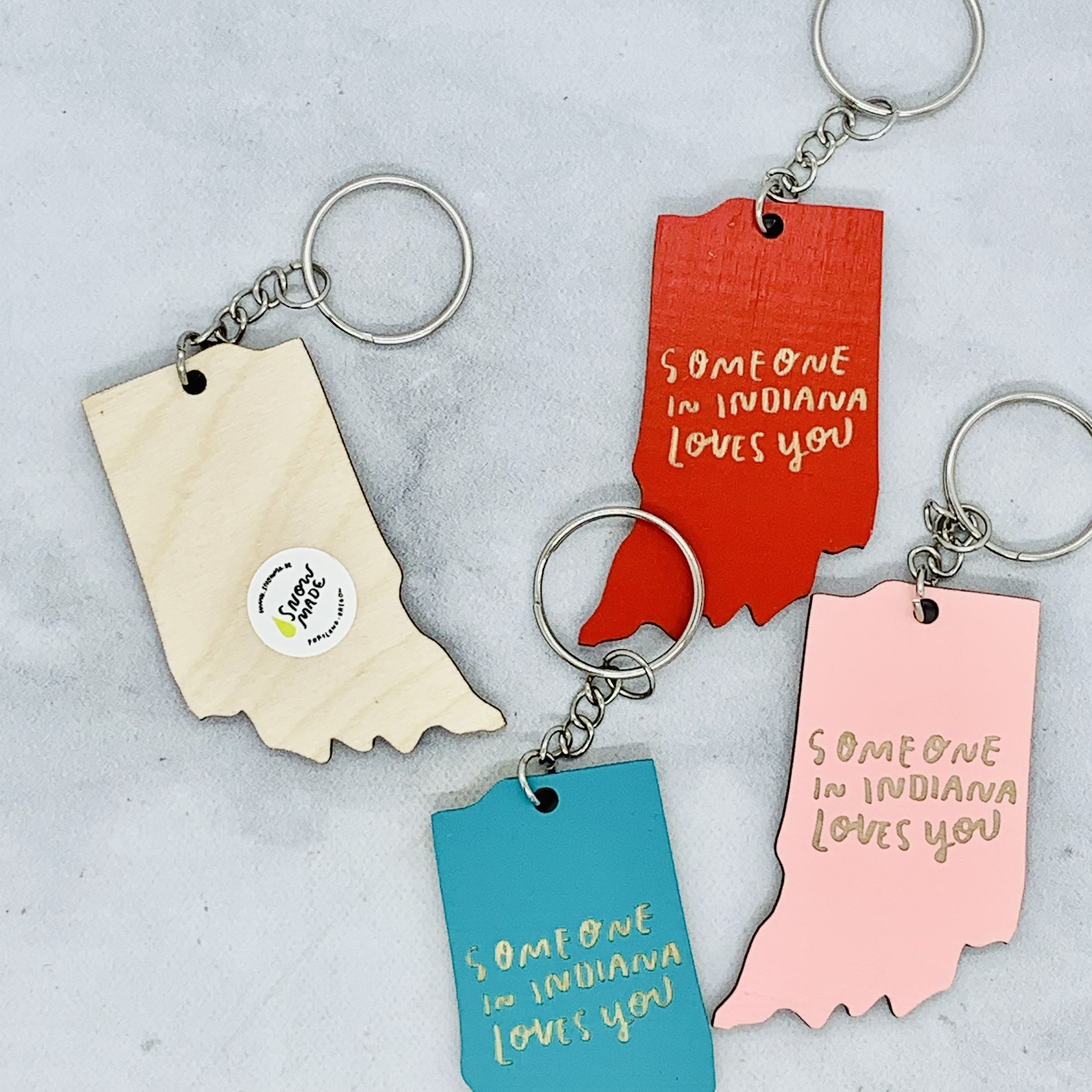Someone In Indiana Loves You Keychain