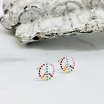 Peace Sign of Hearts Stud Earrings, Silver and Enamel