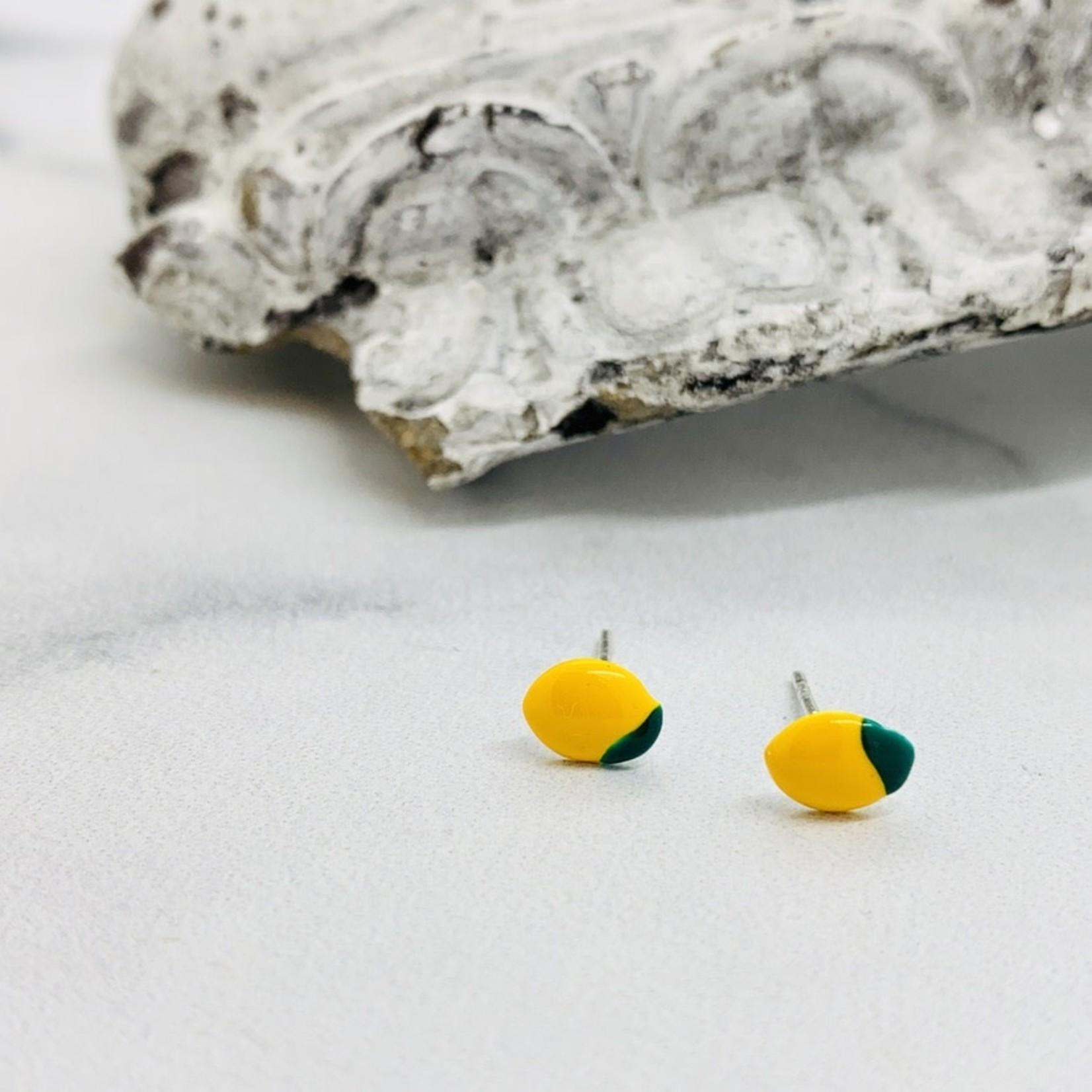 Lemon Enamel Stud Earrings