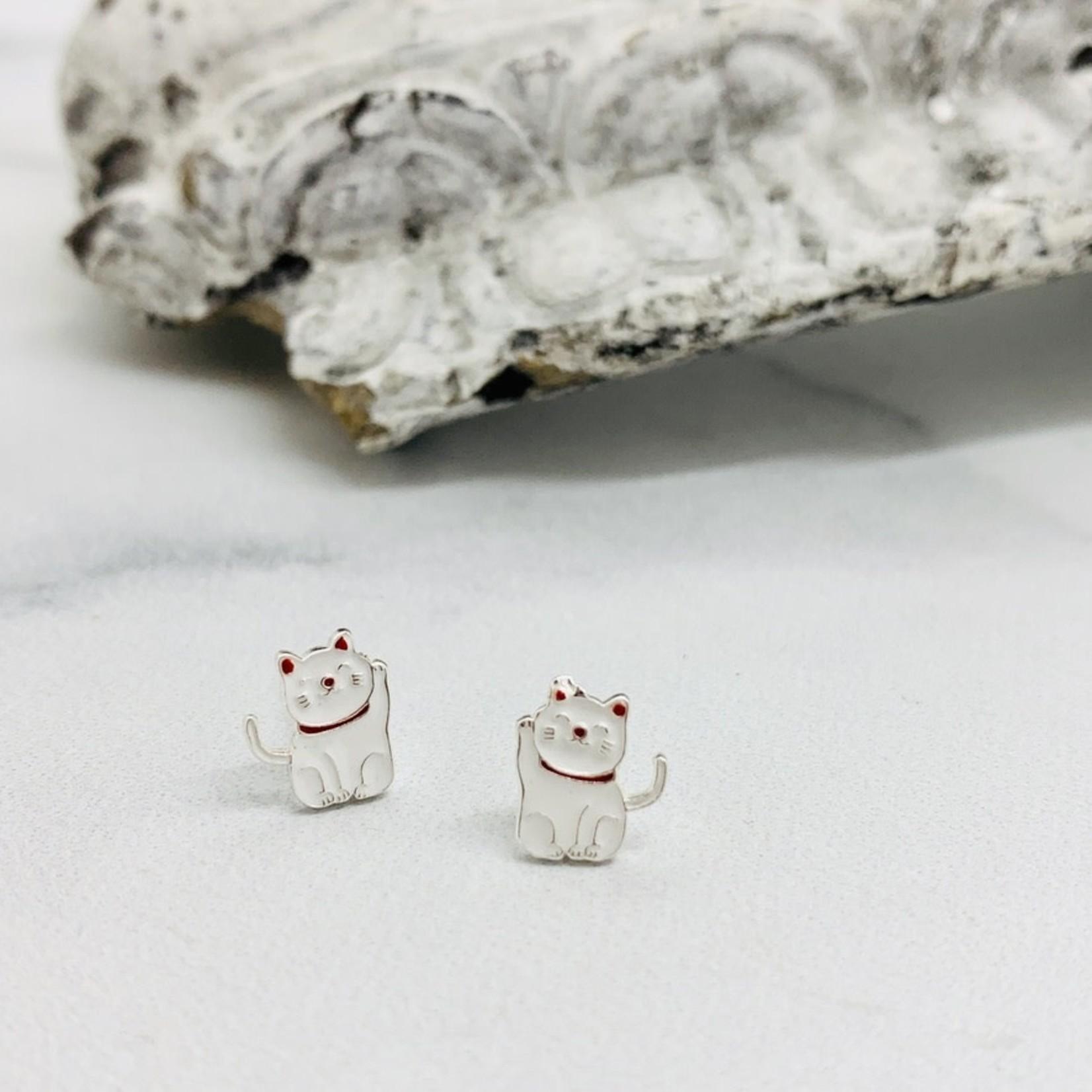 Lucky Cat Enamel Stud Earrings