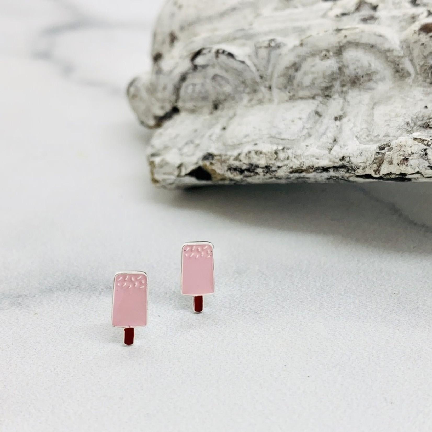 Enamel Sprinkle Popsicle Stud Earrings, Sterling Silver