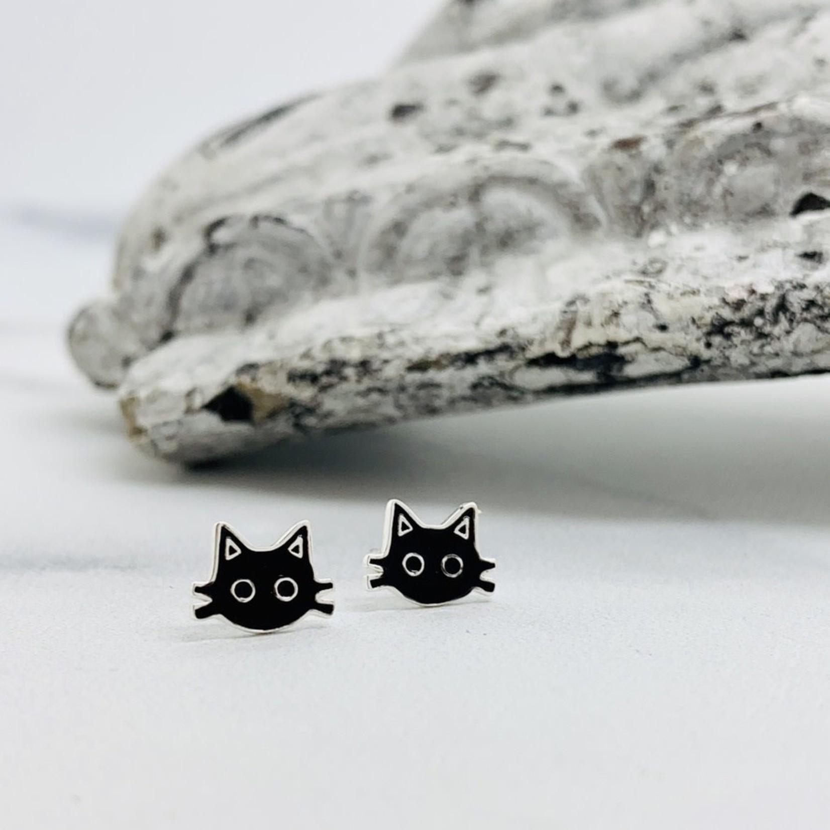 Silver and Enamel Black Kitty Cat Face Stud Earrings