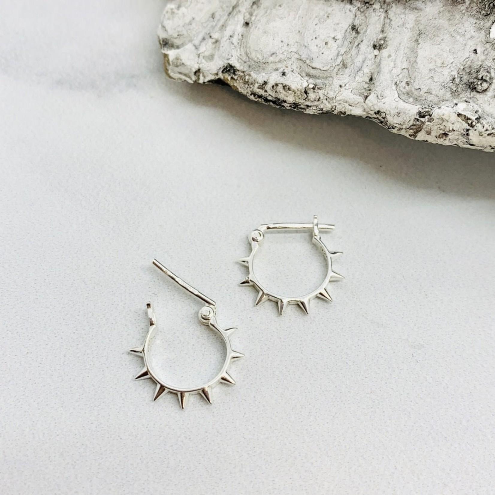 Silver 10mm Spiked Hoop Earrings