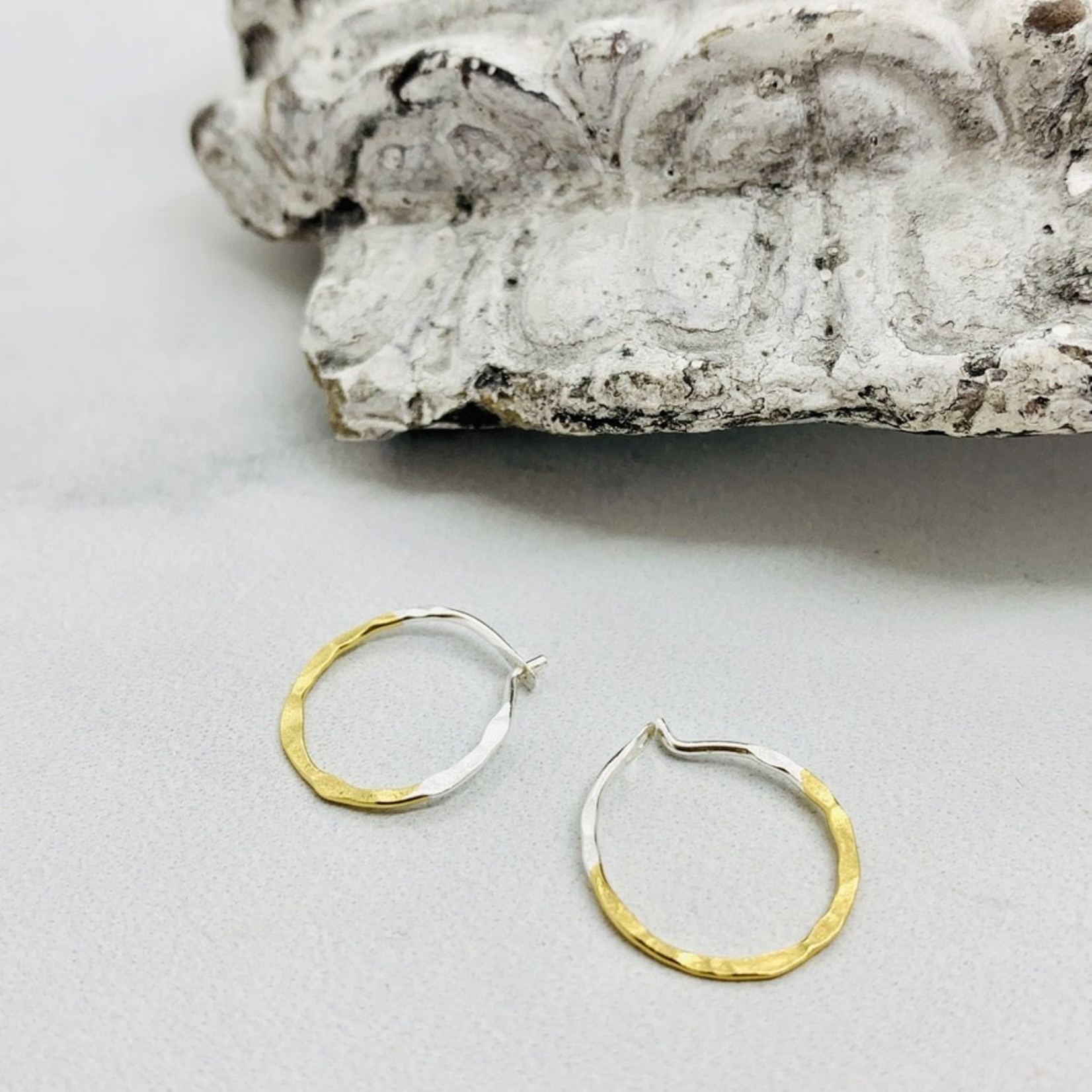 14mm Two-tone Gold Dipped Hammered Hoops