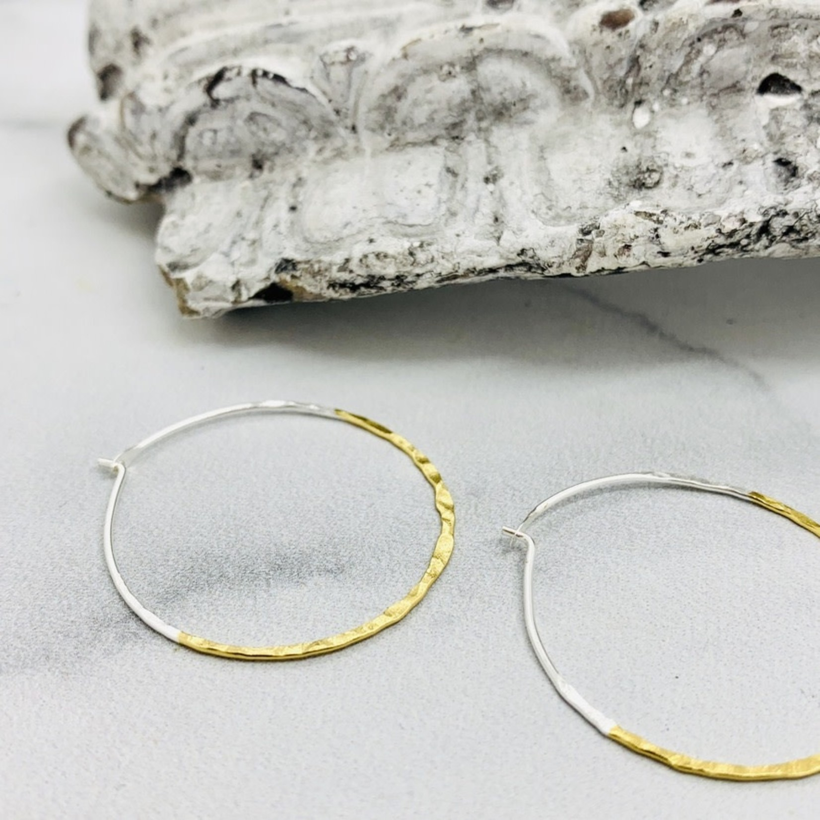 30mm Two-tone Gold Dipped Hammered Hoops
