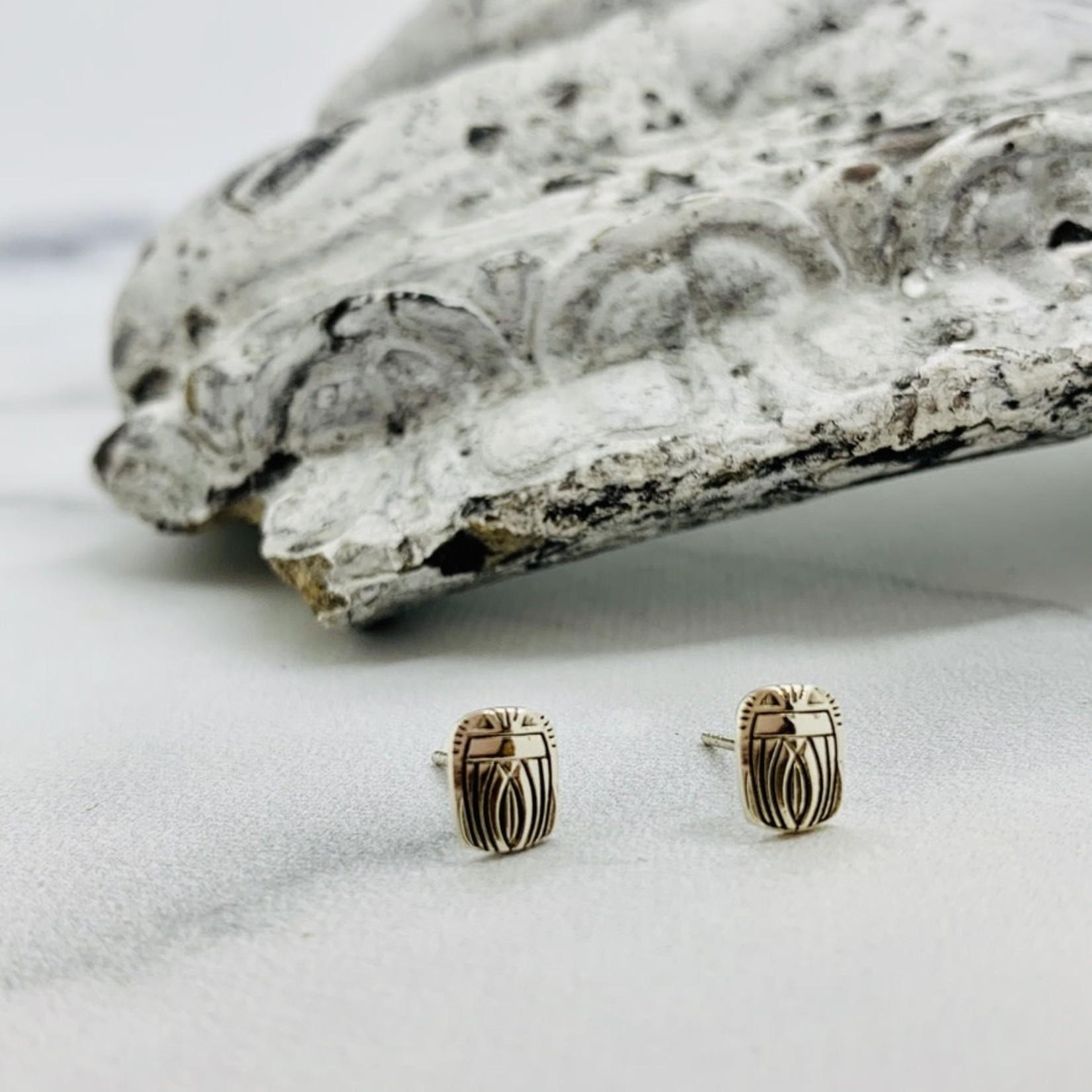 Scarab Stud Earrings, Sterling Silver