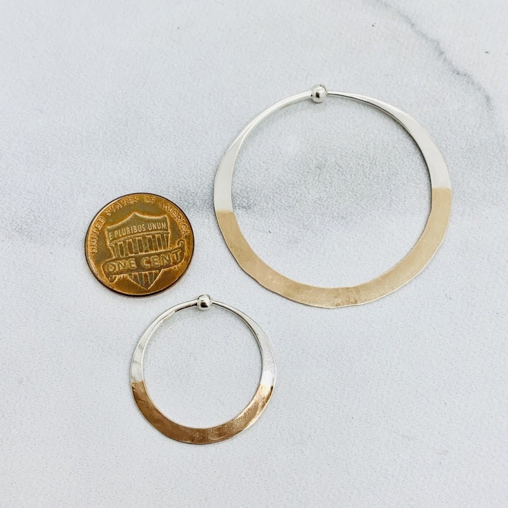 Rose Gold Dipped Hammered Hoop Earrings