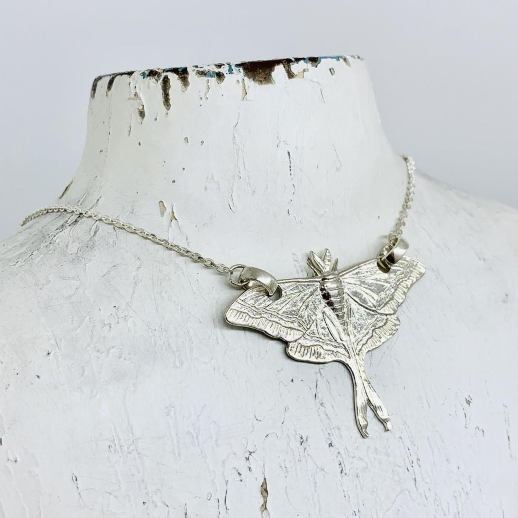 Sterling Silver Luna Moth Necklace