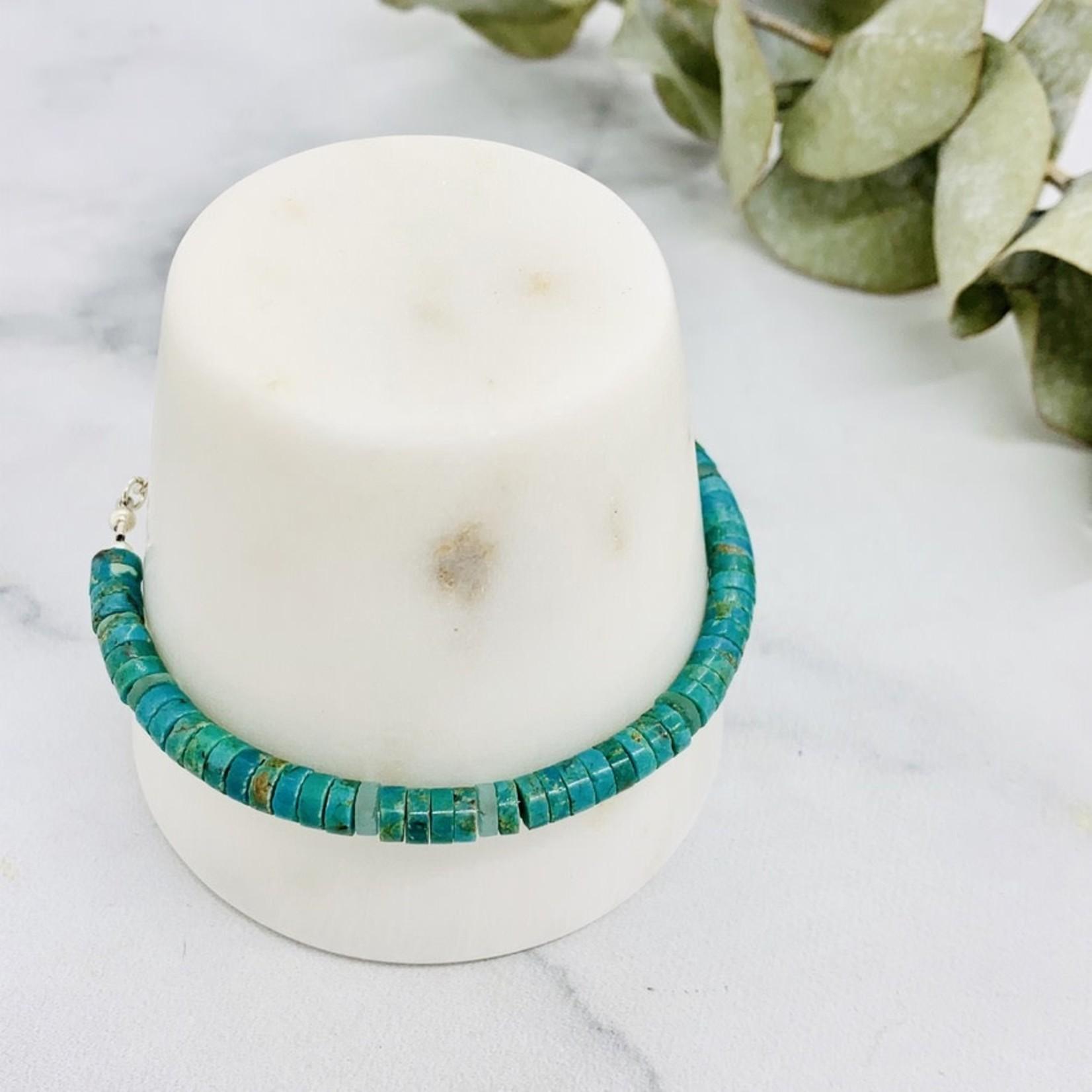 Handmade bracelet with turquoise, roman sea glass discs