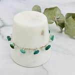 Handmade bracelet with bar chain, turquoise, faceted amazonite