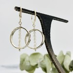 Handmade earrings with round leverback, hammered ring, 5 rainbow moonstone in center