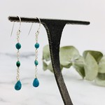 Handmade earrings with turquoise briolette, 2 coins separated by chains