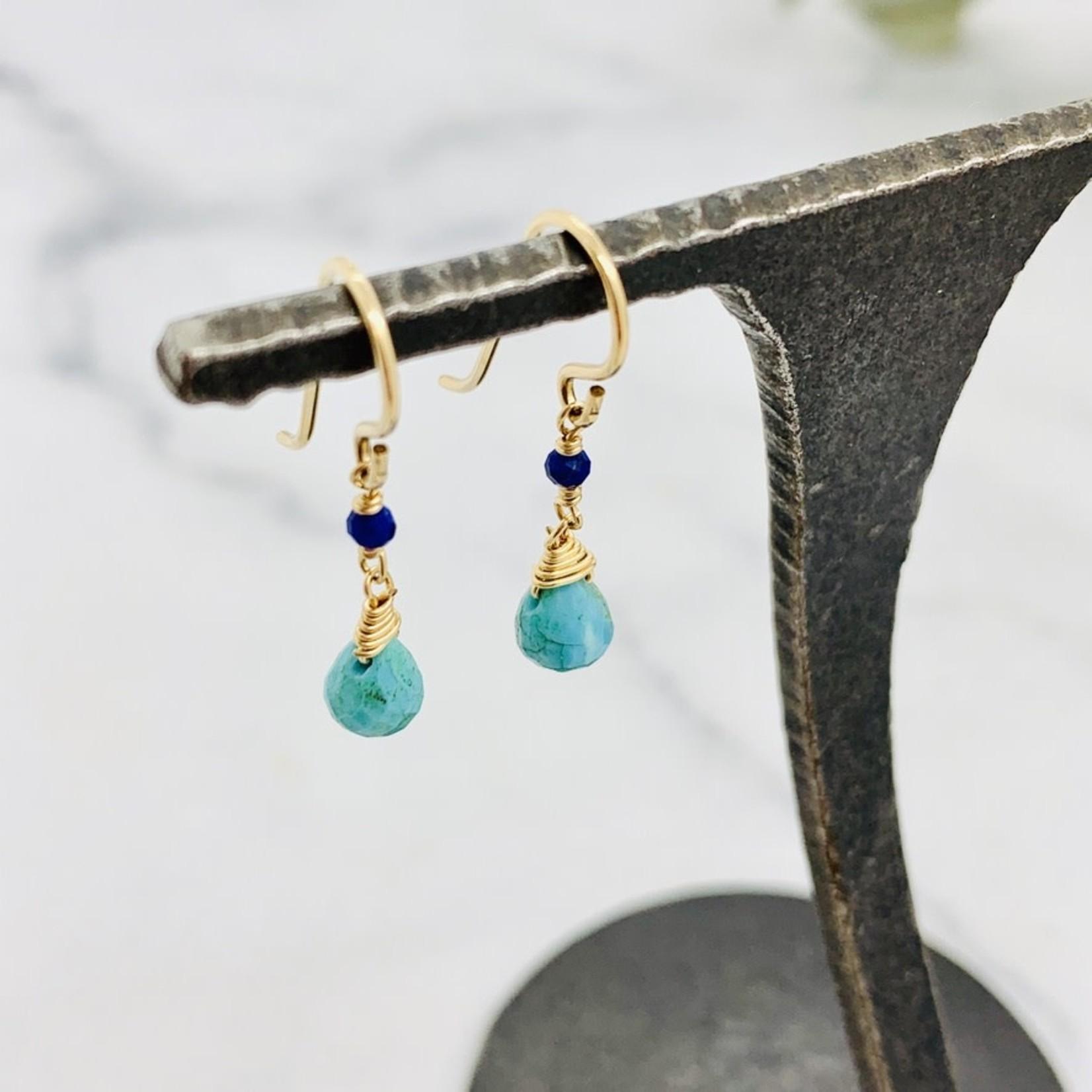 Handmade earrings with turquoise briolette, lapis, 14 k g.f.