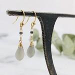 Handmade earrings with grey moonstone, 14 k g.f., rainbow moonstone