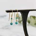 Handmade earrings with turquoise coin, 1 rondelle, 14 k g.f.